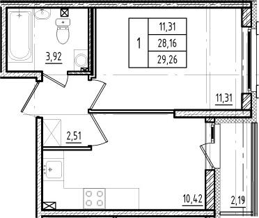 1-комнатная, 28.16 м²– 2