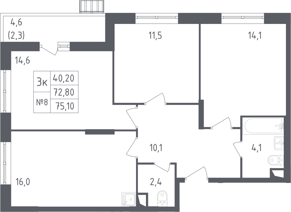 4-к.кв (евро), 77.4 м²