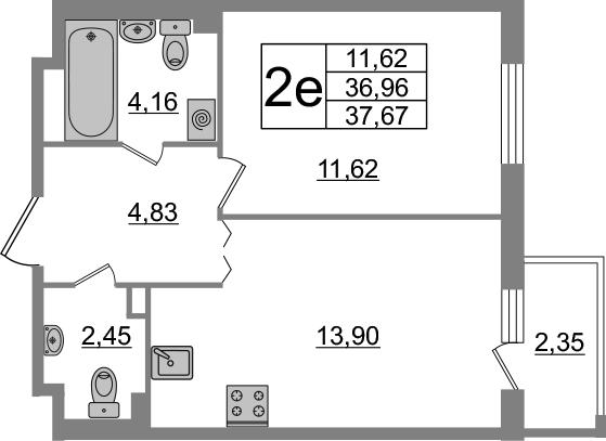 2-к.кв (евро), 39.33 м²