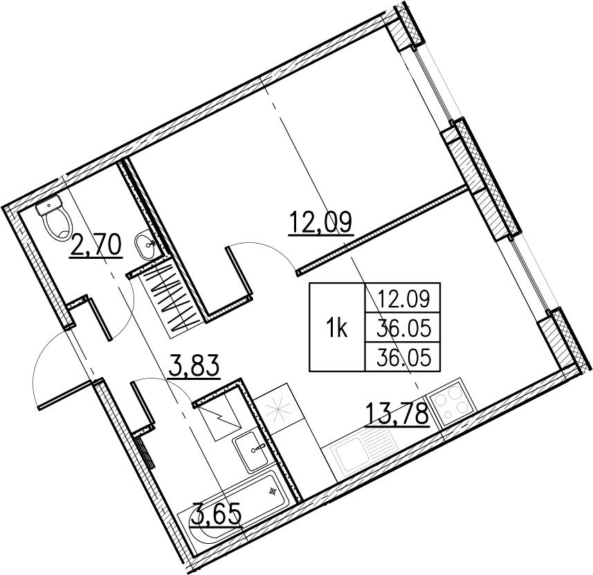 2Е-комнатная, 36.05 м²– 2