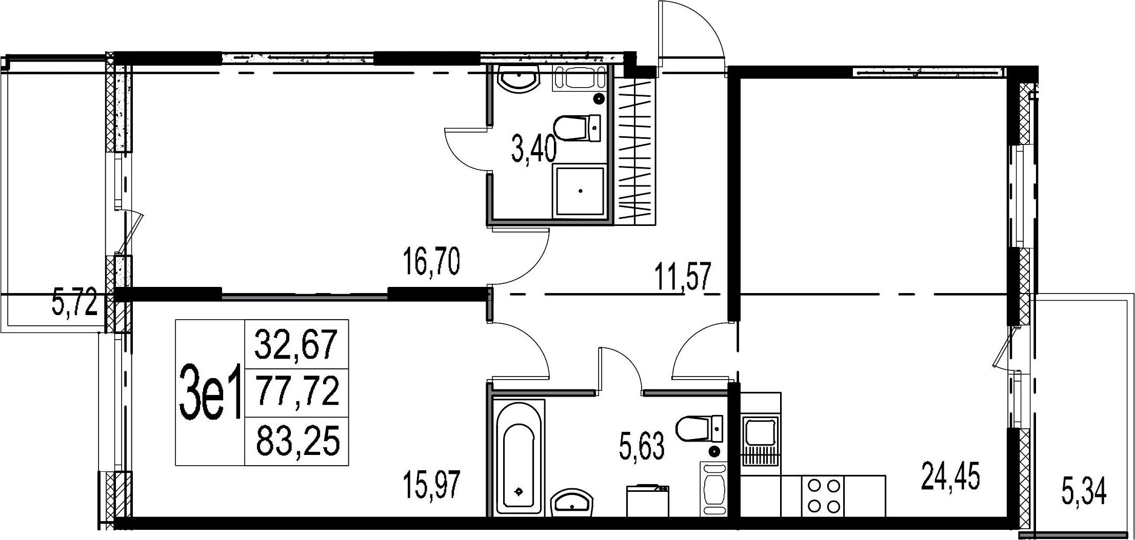 3-к.кв (евро), 88.78 м²