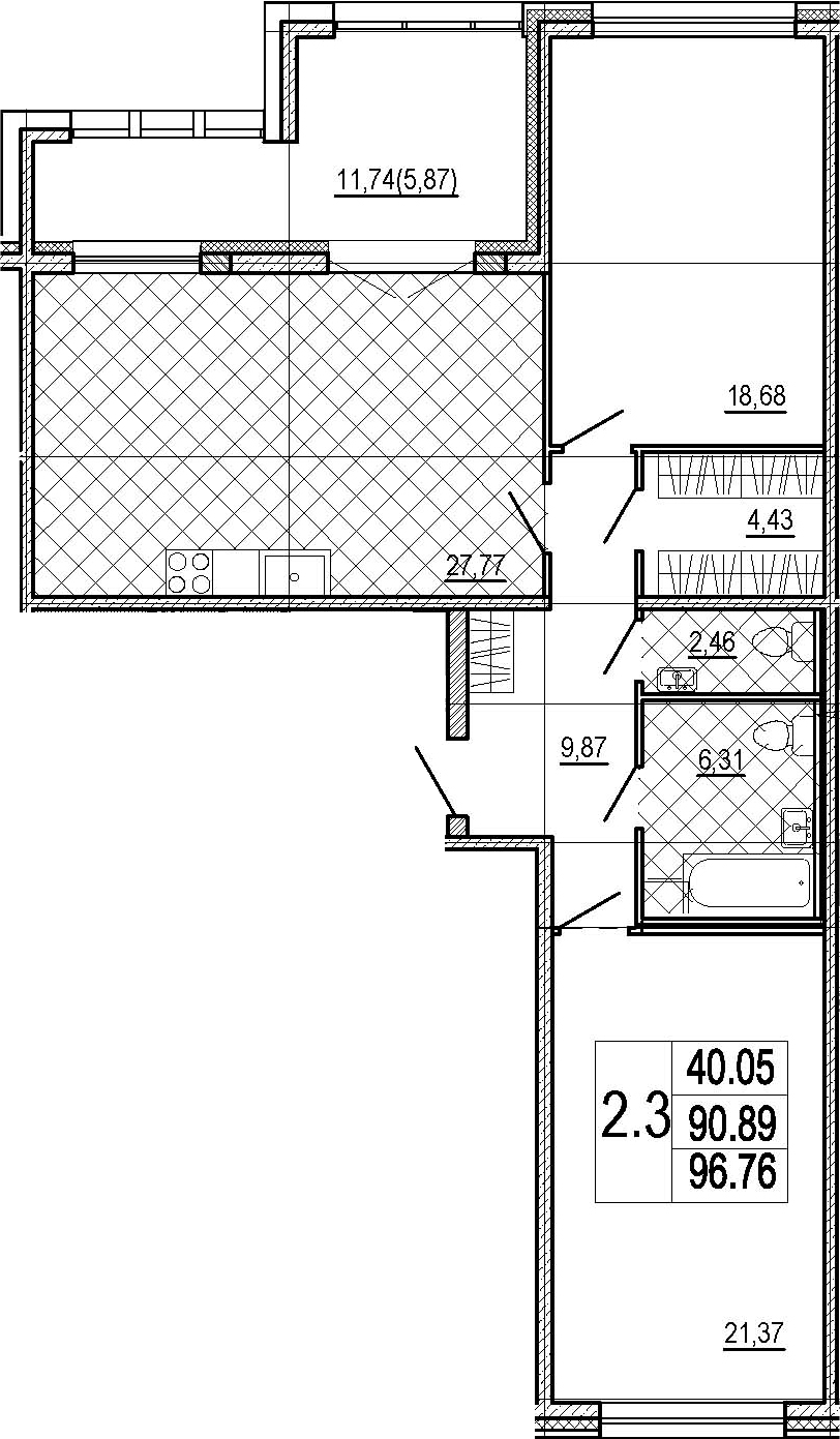 2-к.кв, 102.63 м²