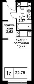 Студия, 22.76 м²– 2