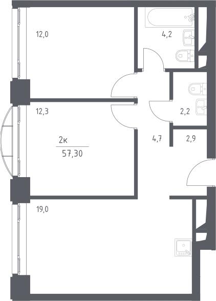 3Е-к.кв, 57.3 м², 8 этаж