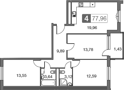 4Е-к.кв, 77.96 м²