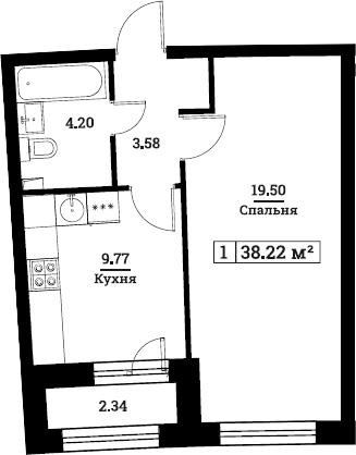 1-комнатная, 38.22 м²– 2
