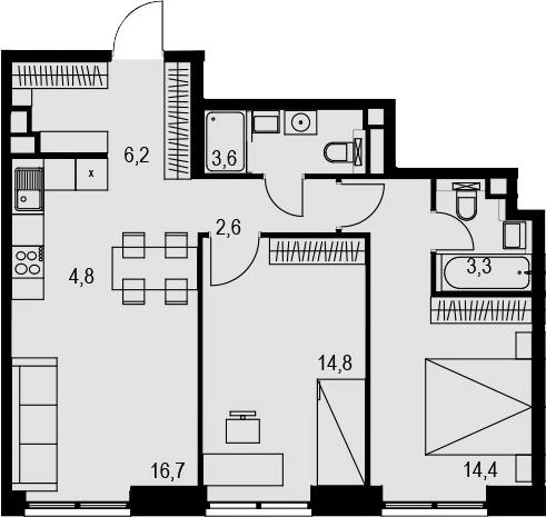 3Е-к.кв, 66.4 м², 4 этаж