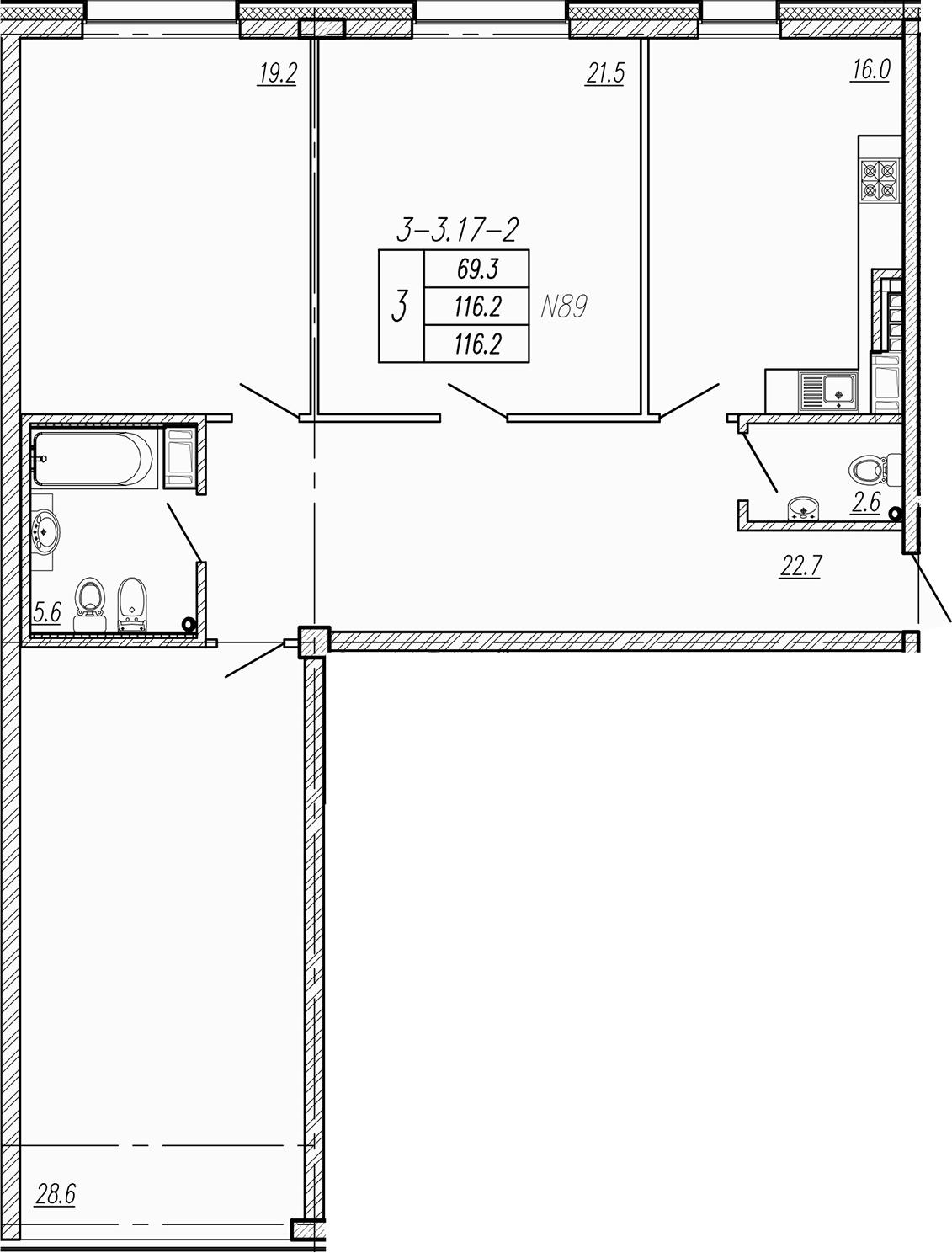 4Е-к.кв, 116.2 м², 7 этаж