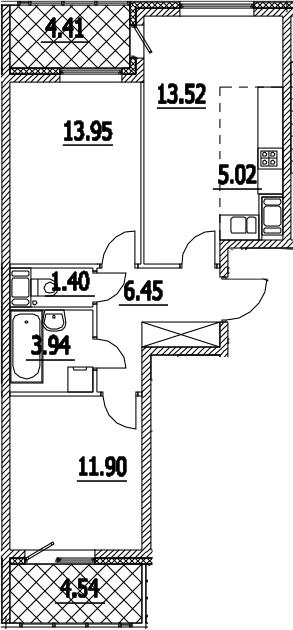 3-к.кв (евро), 65.13 м²