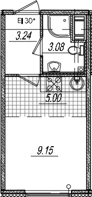 Студия, 20.47 м²– 2