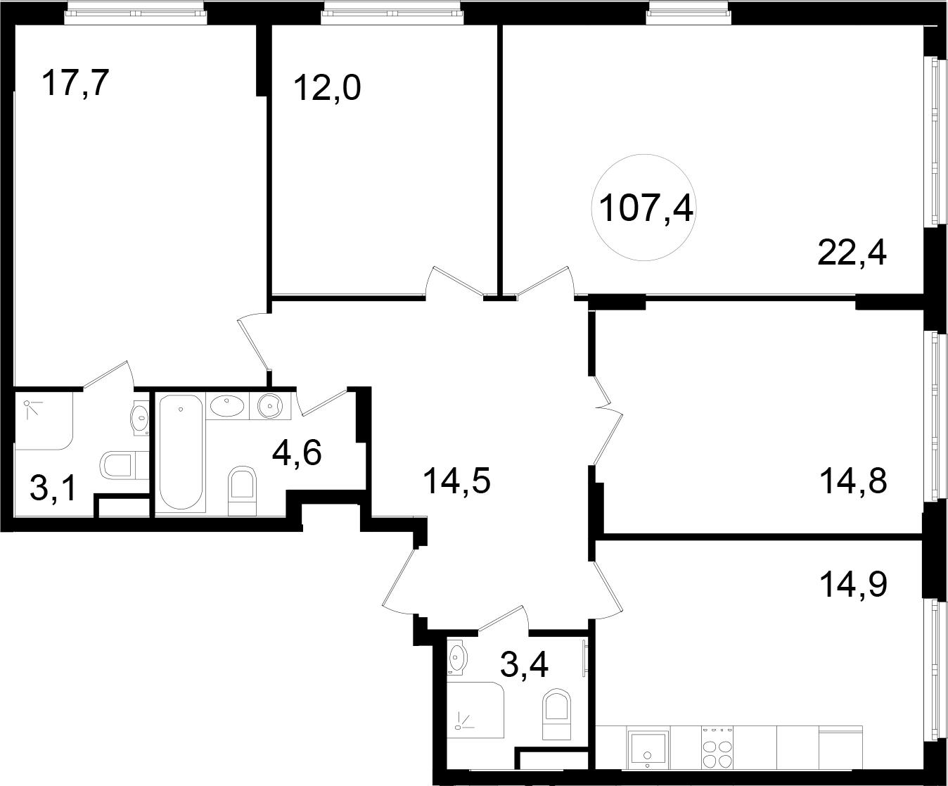 4-к.кв, 107.4 м²