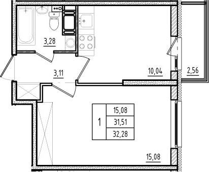 1-комнатная, 31.51 м²– 2
