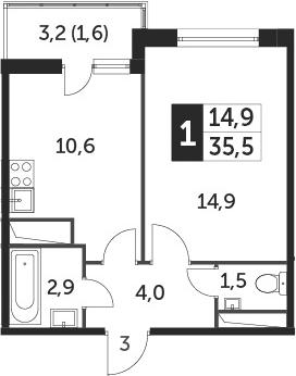 1-к.кв, 34.9 м², от 10 этажа