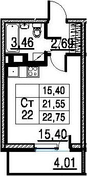 Студия, 21.55 м²
