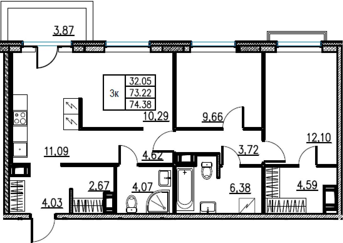 3-комнатная, 74.38 м²– 2