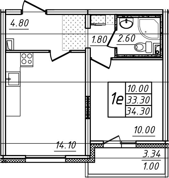 2-к.кв (евро), 36.63 м²