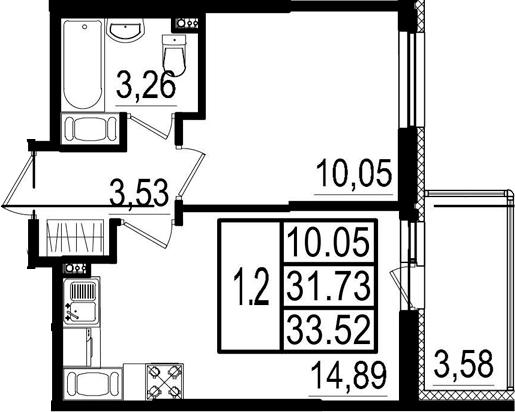 2-к.кв (евро), 35.31 м²