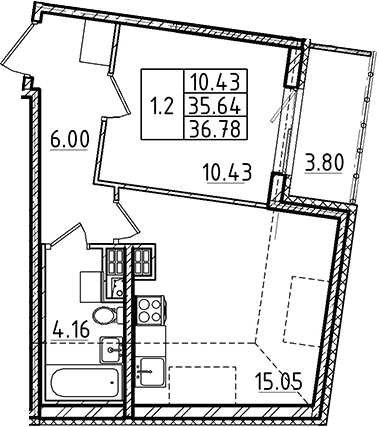 2Е-комнатная, 35.64 м²– 2