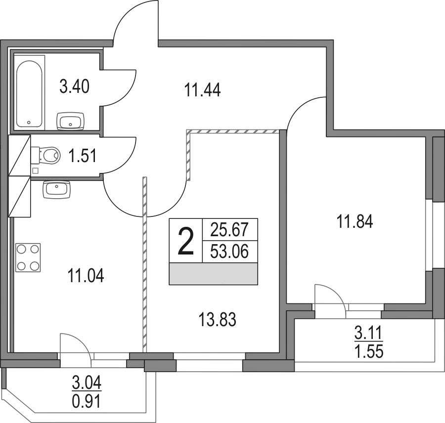 3Е-к.кв, 53.06 м², от 2 этажа