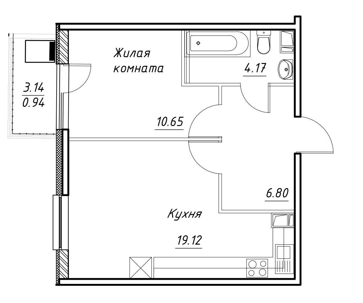 2-к.кв (евро), 43.88 м²
