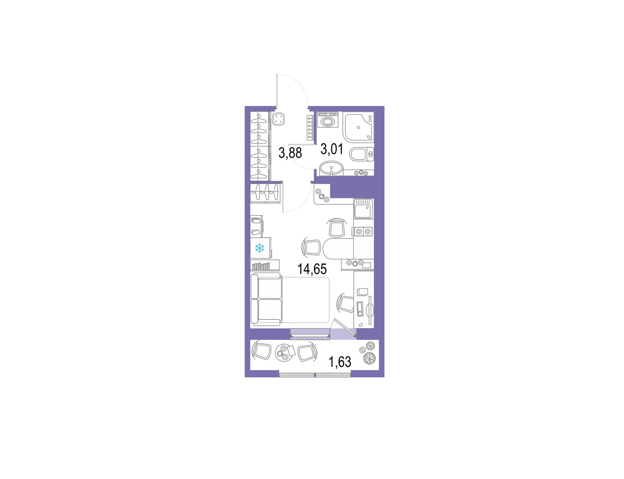 Студия, 23.17 м²