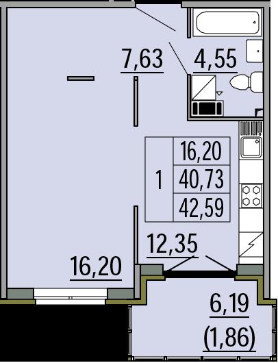 1-комнатная, 42.59 м²– 2