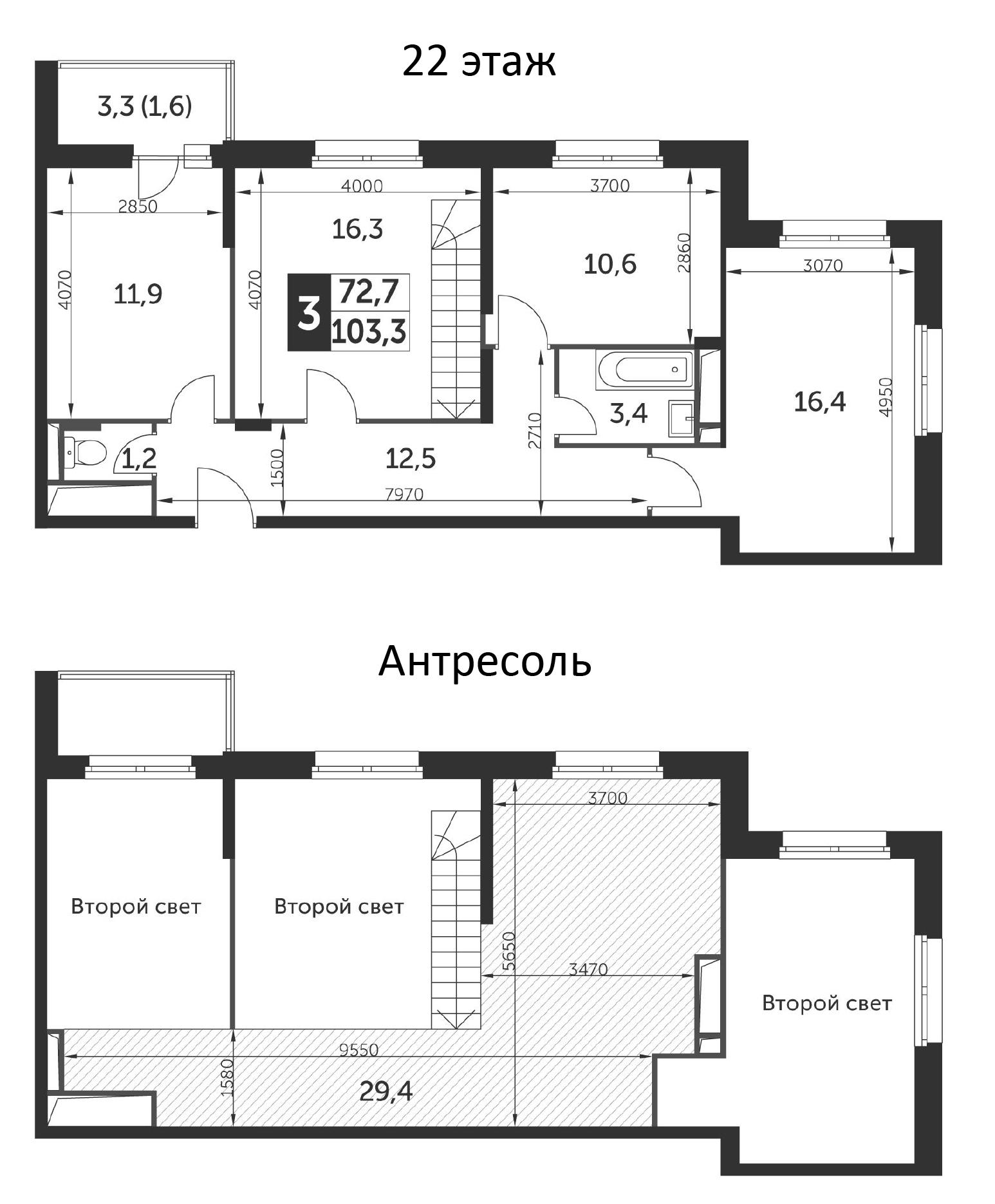 3-к.кв, 103.3 м²