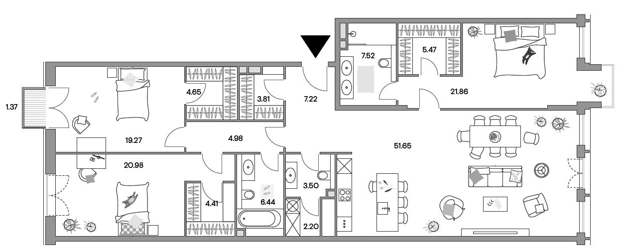 4-к.кв (евро), 164.26 м²
