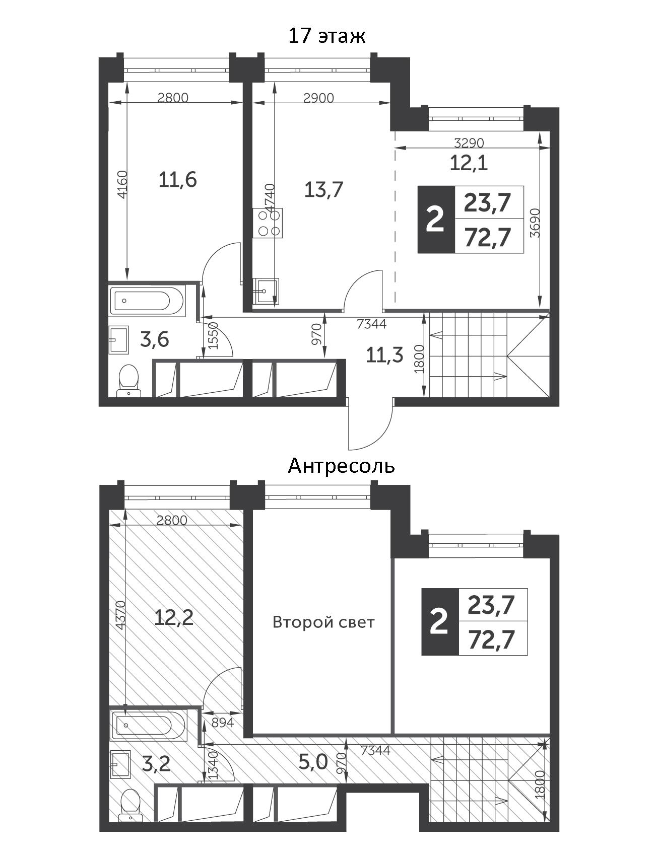 3Е-к.кв, 72.7 м², 17 этаж