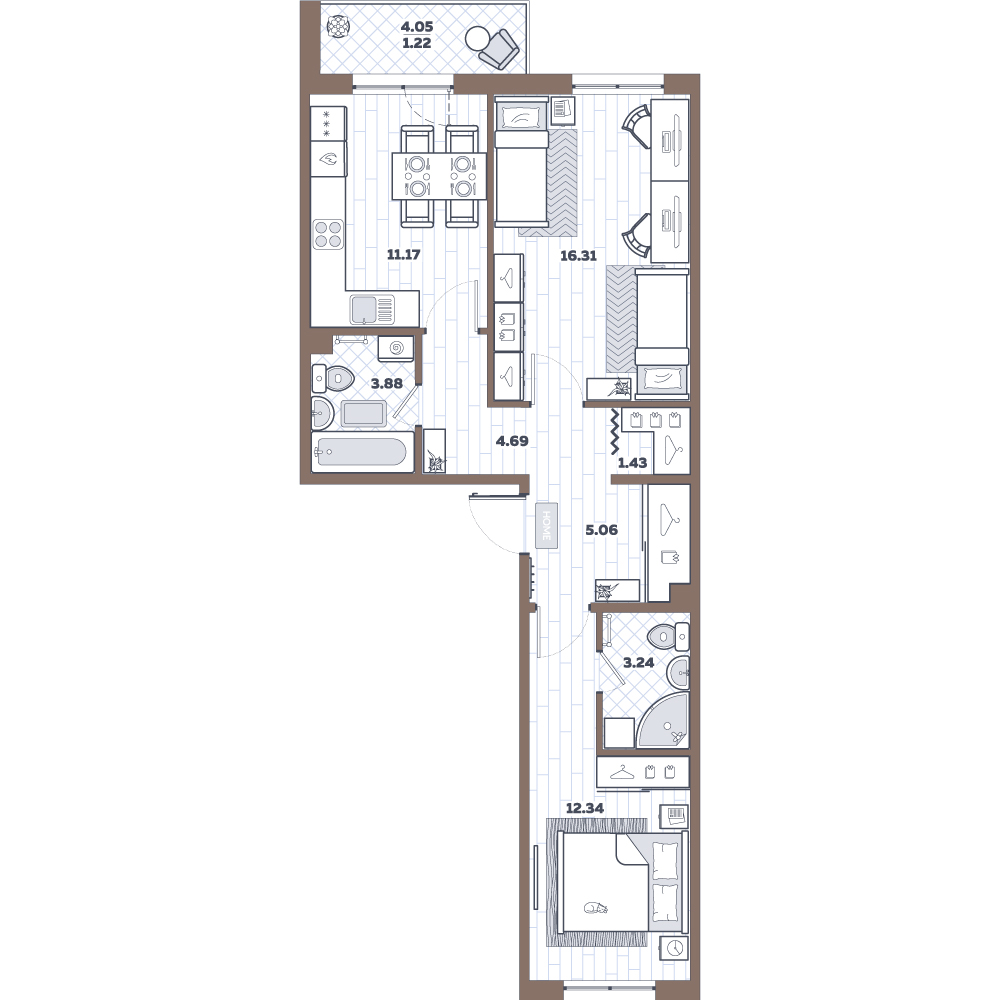 2-к.кв, 62.19 м²