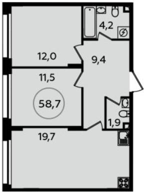 3-к.кв (евро), 58.7 м²