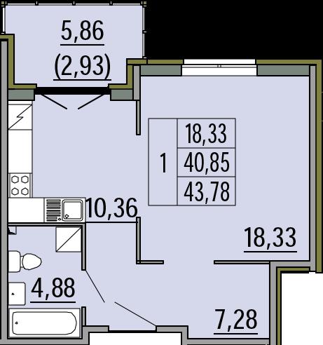 1-комнатная, 43.78 м²– 2
