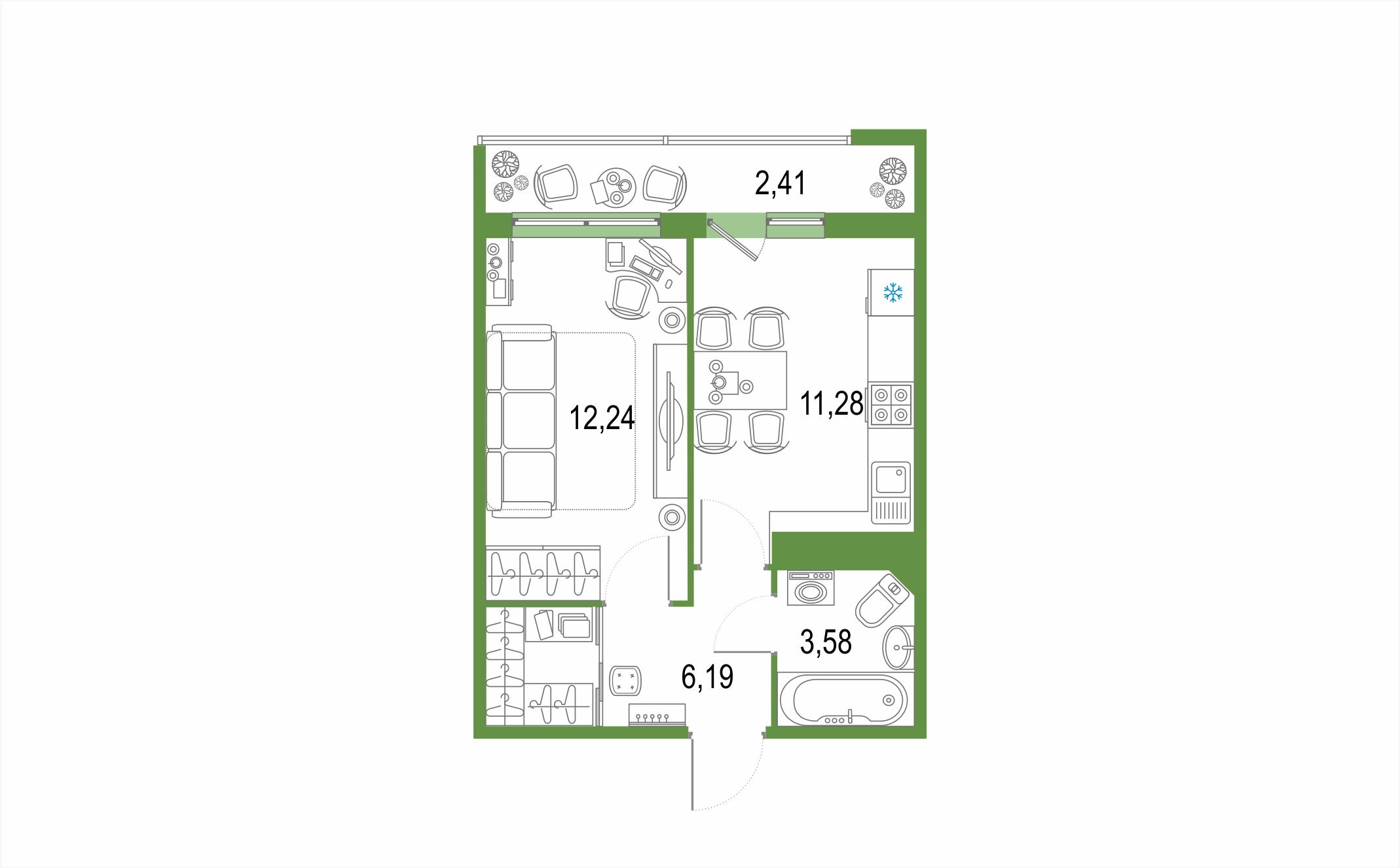 1-к.кв, 35.7 м², 22 этаж
