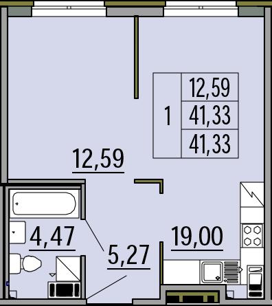 2Е-комнатная, 41.33 м²– 2