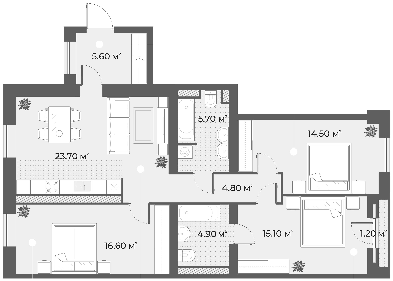 4Е-к.кв, 90.9 м², 4 этаж
