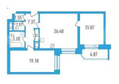 3Е-комнатная, 77.66 м²– 2