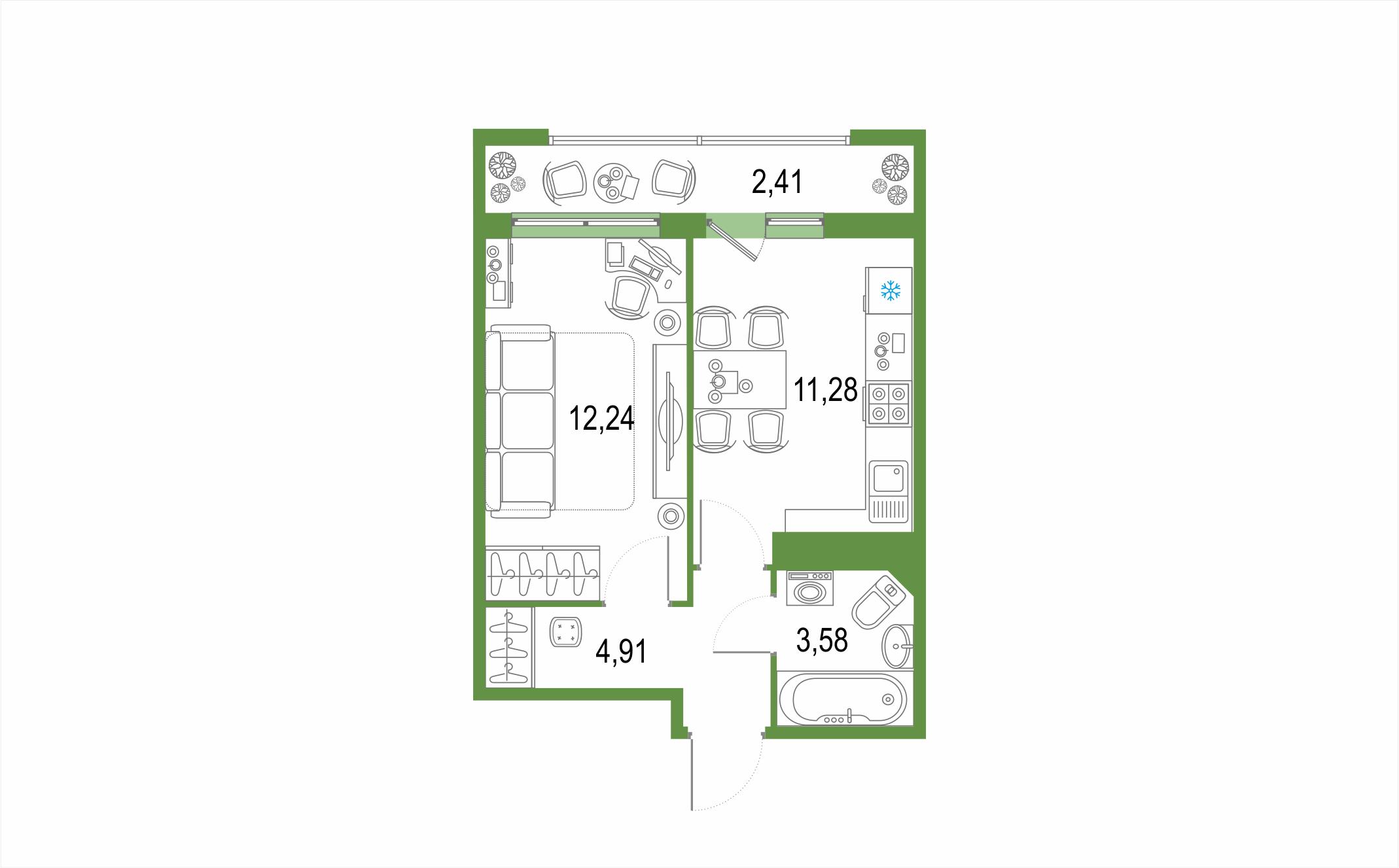 1-к.кв, 36.83 м²