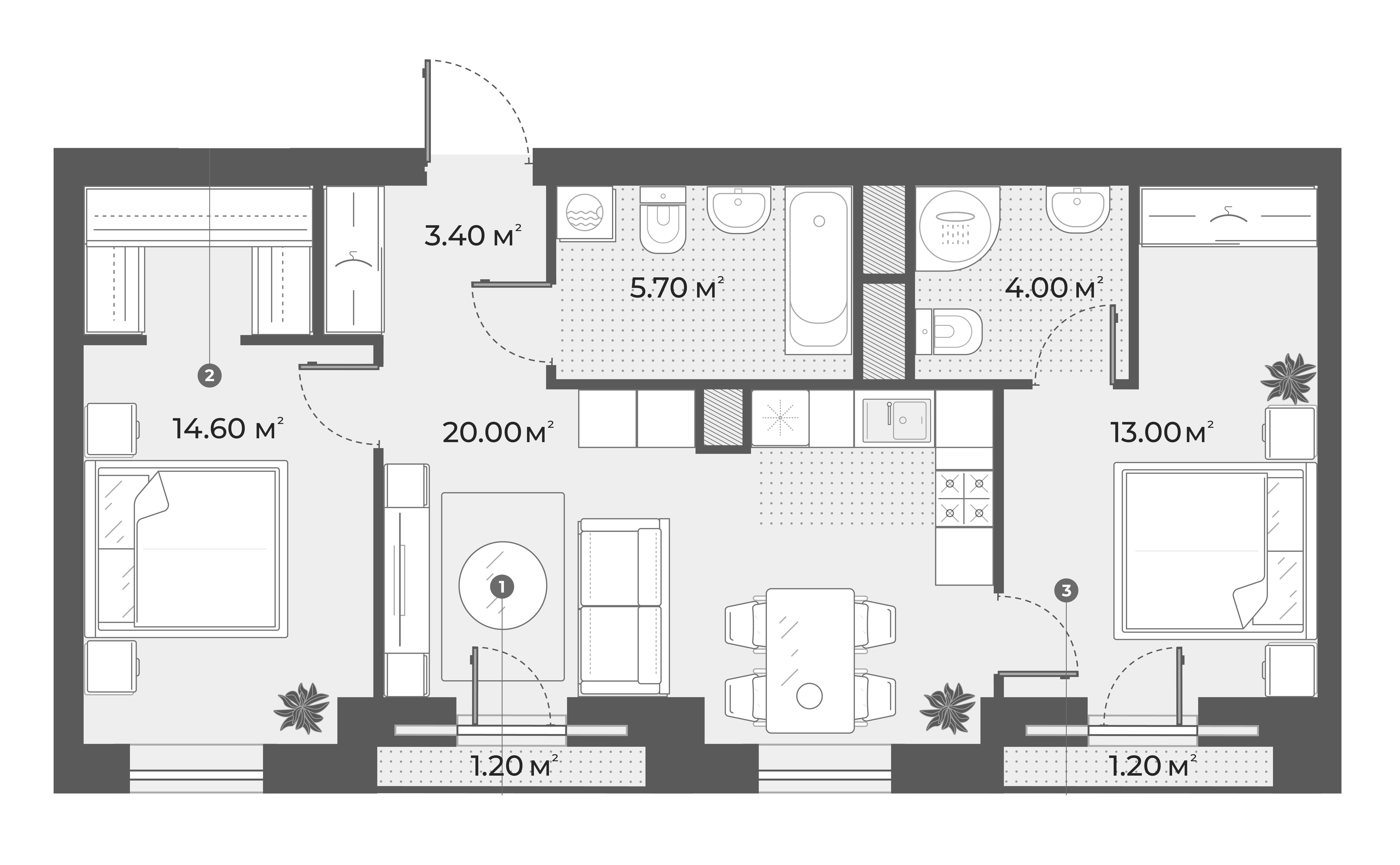 3Е-к.кв, 60.7 м², 2 этаж