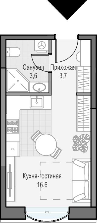 Студия, 24.9 м²