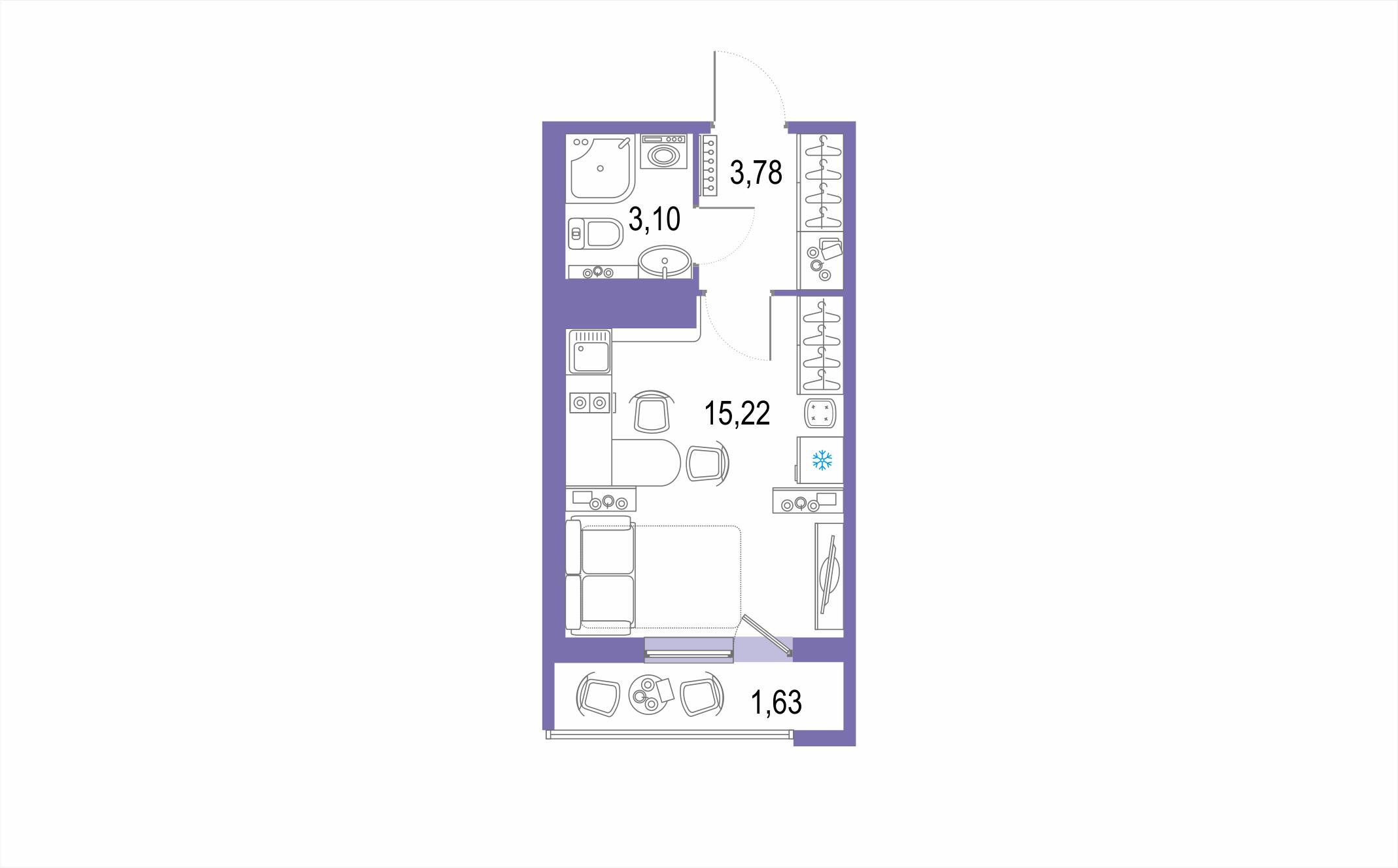 Студия, 25.36 м²