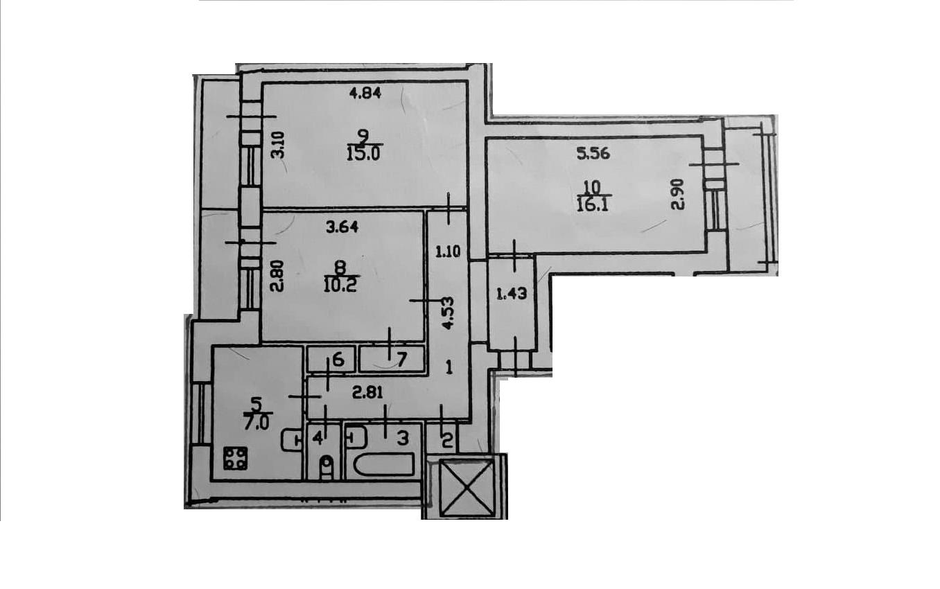 3-к.кв, 76.67 м²