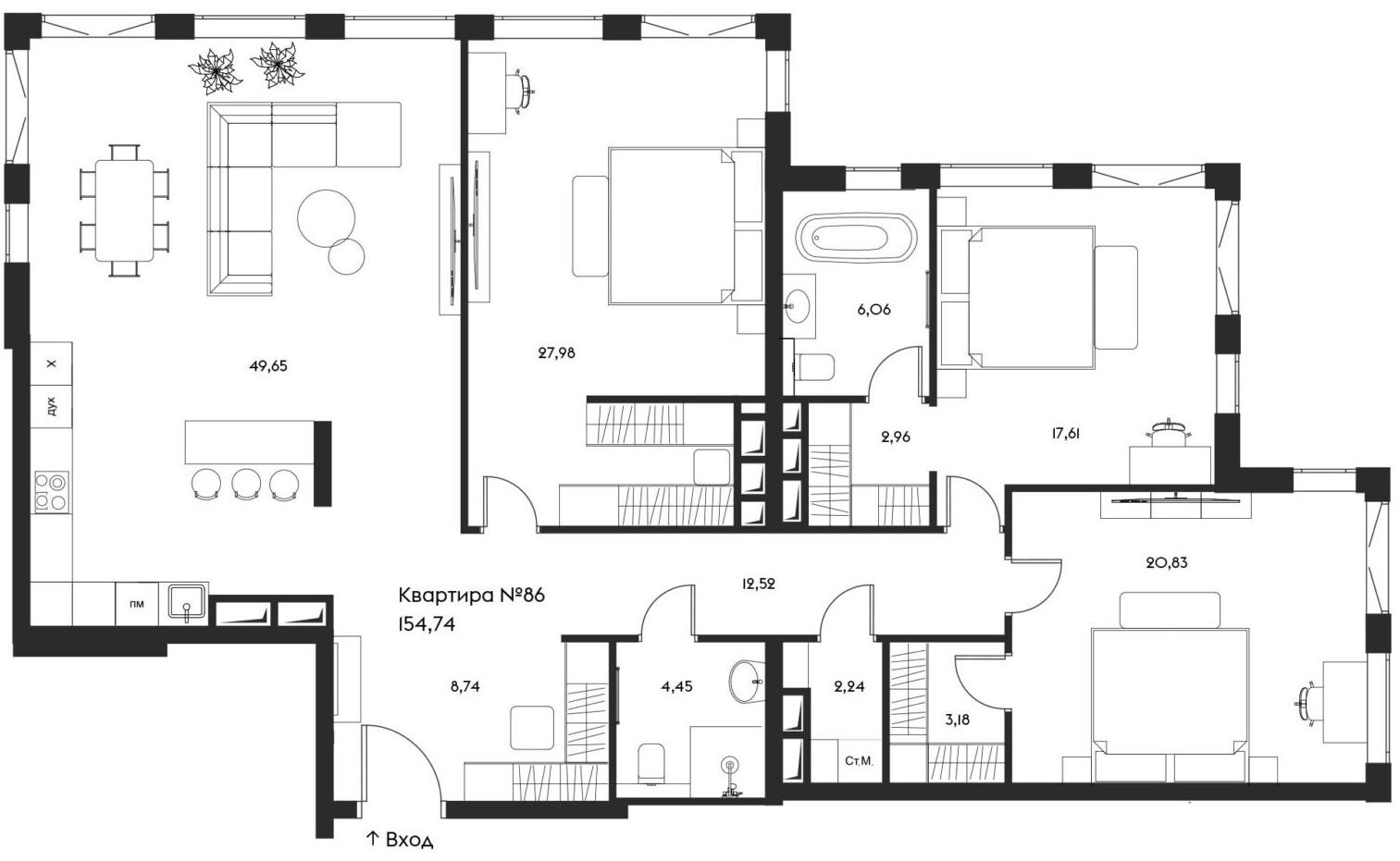 4Е-комнатная, 154.74 м²– 2