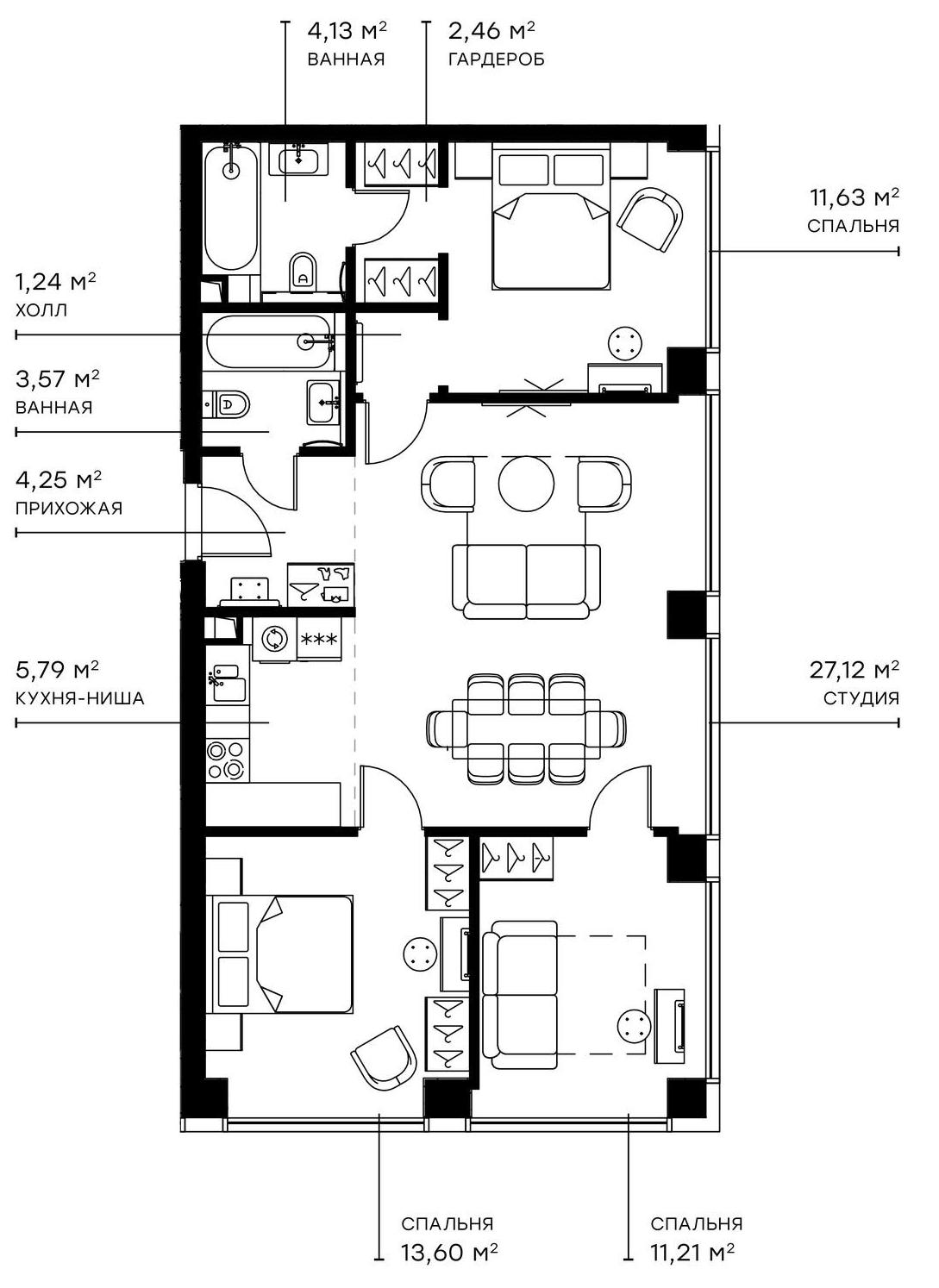 4Е-комнатная, 85 м²– 2