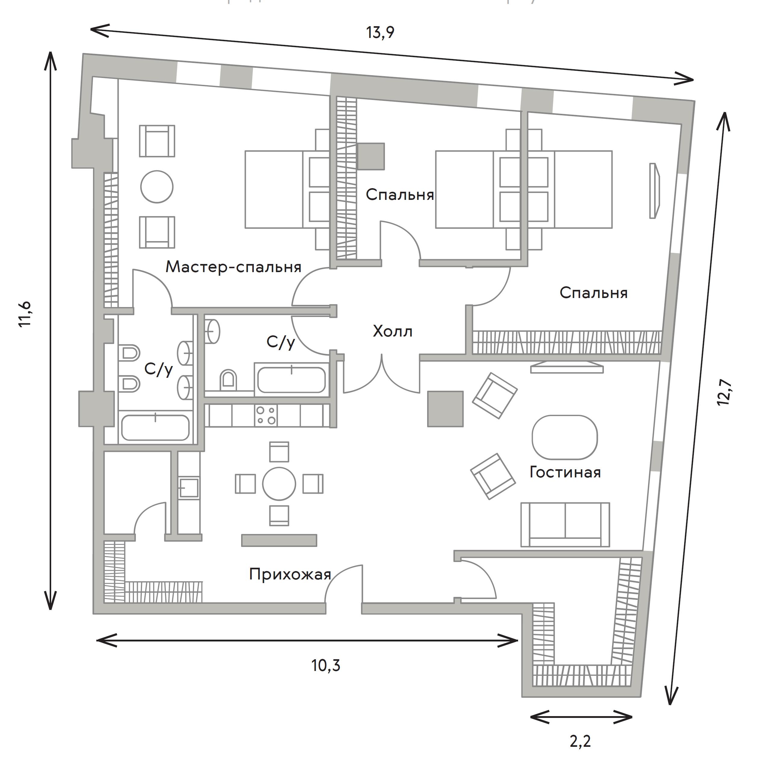 4Е-комнатная, 154.2 м²– 2