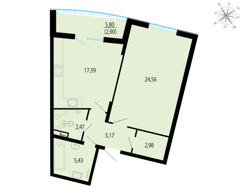 1-к.кв, 63.8 м²