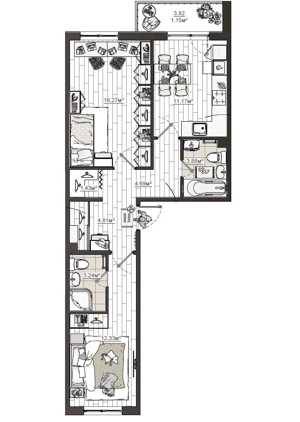 2-к.кв, 61.65 м²