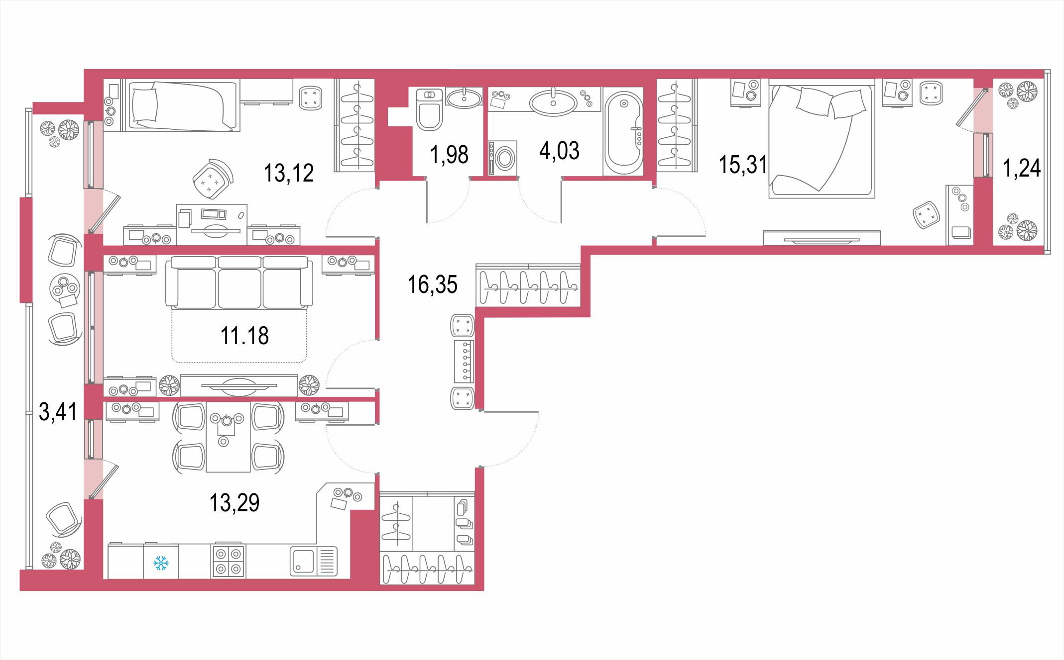 3-к.кв, 84.56 м²