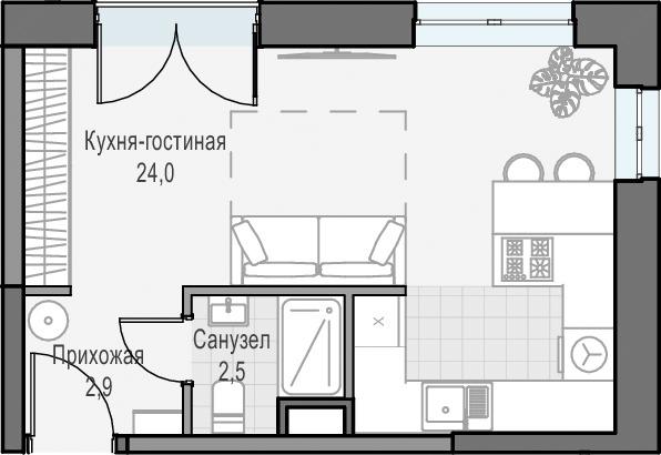 Студия, 29.97 м², 22 этаж