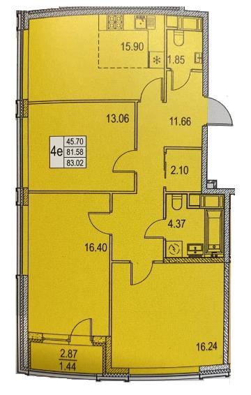4Е-к.кв, 81.58 м²