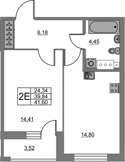 2Е-комнатная, 39.84 м²– 2